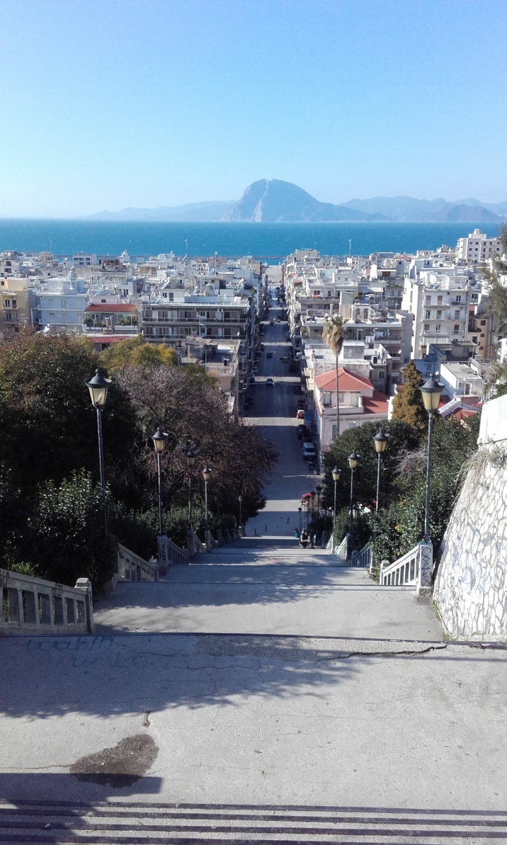 View to the sea from the top of Nikolaou stairs, just below the castle