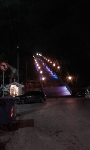 View from the base of Nikolaou stairs at night