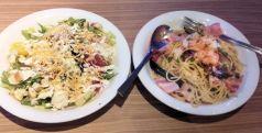 Caesar salad with avocado and spaghetti with eggplants
