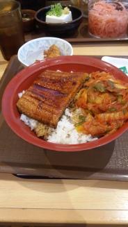 Kimchi unagi don (rice bowl with eel and korean spices) at the Sukiya. Cheap and tasty